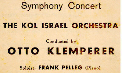 1950 Israel MOZART CONCERT PROGRAM Conductor KLEMPERER Jewish HEBREW Judaica VR
