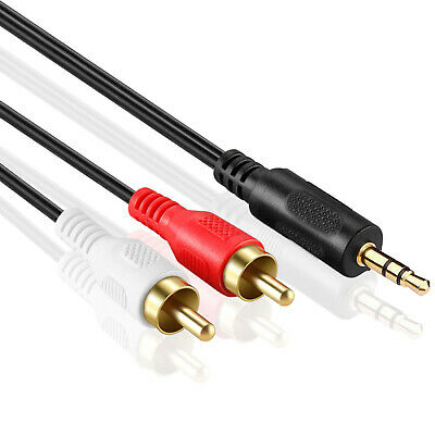 3.5mm Jack Plug Male to 2 RCA Stereo Audio Cable Metal Connector 1/3/5 Meter US