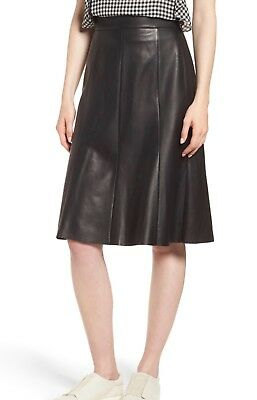 a141b4860 Nordstrom Signature Black Fit n Flare Leather Skirt, Size 4 $469- ChicEwe