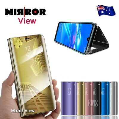 Smart Mirror Clear View Flip Luxury Stand Case Cover For Huawei Y7 Pro 2019