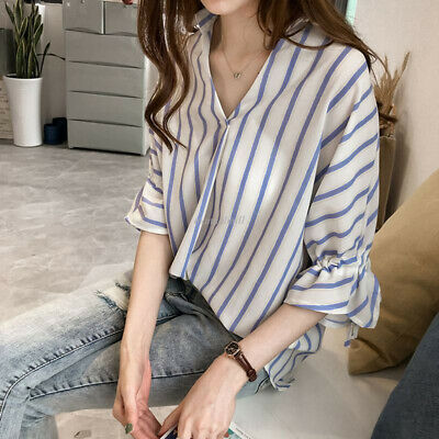 Korea Fashion Women Striped V Neck Drawstring Irregular Bottom Shirt Blouse Tops