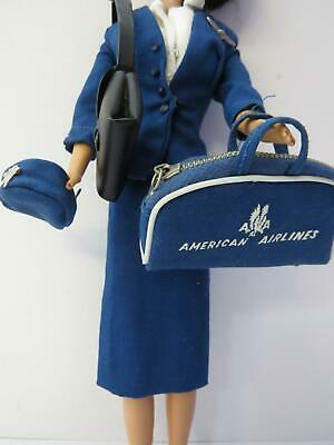 Vintage Barbie American Airlines Stewardess Hat Bag Purse Skirt Blouse Jacket984