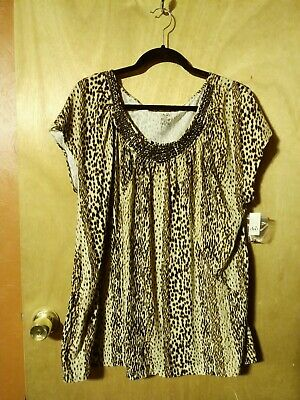 NWT Womens Duo Maternity Animal Print Cap Sleeve Stretch Pullover Top In Size 1X