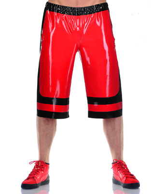 2019 Latex Sport Shorts Men High Waist Black and Red Unique Shorts Size S-XXL