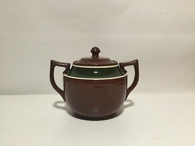 VINTAGE BROWN BETTY SUGAR BOWL, Made by Gibson's, England. Large with Lid
