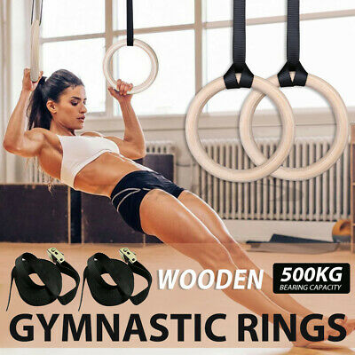 Wooden Gymnastic Olympic Rings Strap Crossfit Gym Fitness Exercise Training RING