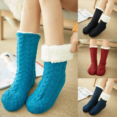 1/3 Pairs Women Thick Fluffy Non-slip Warm Soft Fur Winter Bed Socks Slippers AU