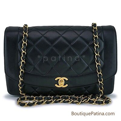 bb23e7233cc421 Chanel Vintage Black Medium Diana Classic Shoulder Flap Bag 24k GHW 63090