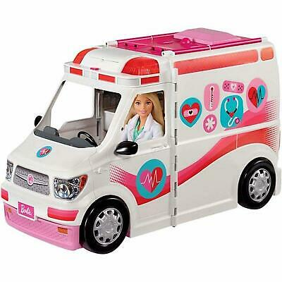 Barbie Care Clinic Van Vehicle Toys Transforms Ambulance Rescue Pretend Pink NEW
