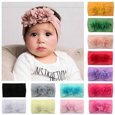Cute Baby Newborn Toddler Kids Girls Flower Headband Hair Band Turban Headwear