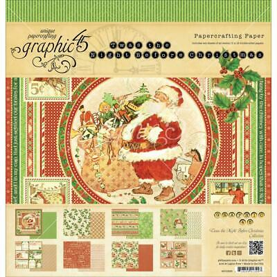 """Graphic 45  Twas The Night Before Christmas 8"""" x 8"""" Paper Pad"""