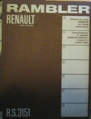 * Rambler Classic 6 Oct. 1963 Manual Manuel french / francais by Renault
