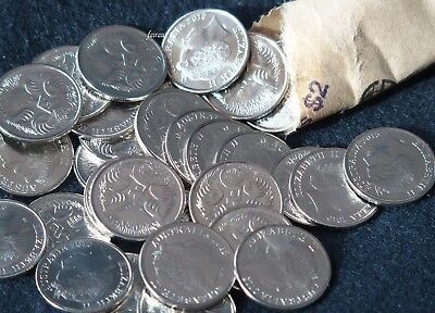 Scarce 5 x 2015 5 cent LOW MINT uncirculated 5c in coin sheet