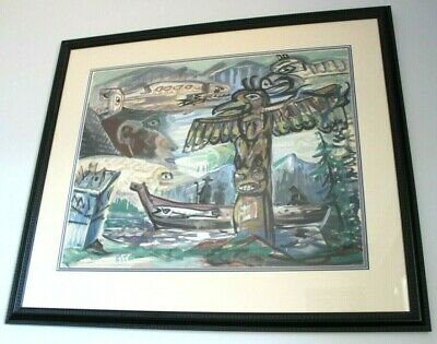 Gordon Kit Thorne Original Watercolor Painting Hand Signed Framed Totems Canoes