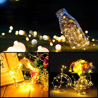 6X Copper Wire Wine Bottle Sliver Battery Operated Fairy String Lights 2M 20LED