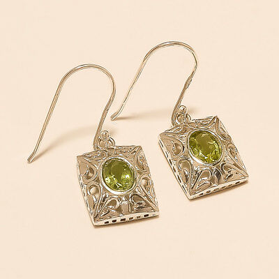 Natural Egyptian Peridot Filigree Earrings 925 Sterling Silver Vintage Jewelry