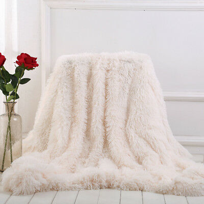 Long Faux Fur Blanket Sofa Bed Super Soft Blanket Warm Throw Luxury Shaggy Cover