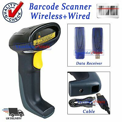 Wireless Barcode Scanner USB Laser Scan Bar Code Reader Long Range Handheld POS