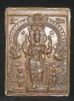 "Antique Traditional Indian Ritual Copper Plaque  ""God Virabhadra"" Very Rare"