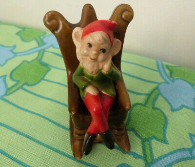 Vintage Hard Plastic Pixie Leprechaun in Rocking Chair Gnome 1970's Hong Kong