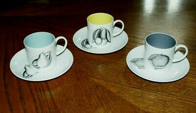 3 x 1960's Susie Cooper - 'BLACK FRUITS' Cup & Saucer Sets