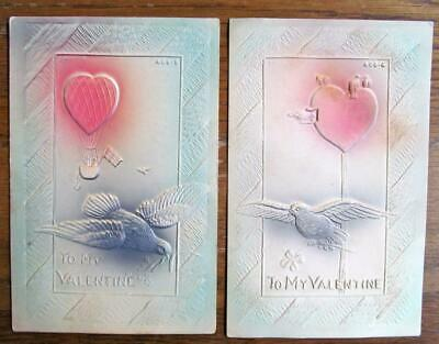 Lot of 2 Vintage Victorian Heavily Embossed & Airbrush Valentine postcards #10-s