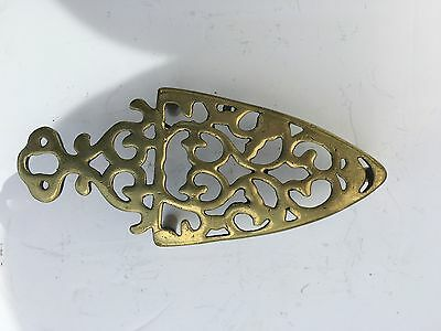 Antique Old Brass Iron Shaped Trivet Stand