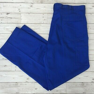 Men's Vintage Workwear Utility Trousers Work Pants - Cobalt Blue - W42 L32