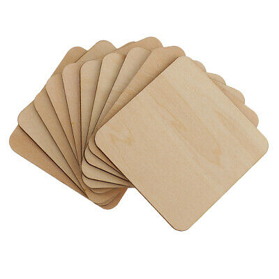 100pcs Square MDF Unfinished Wood Pieces Blanks for DIY Craft Pyrography Art