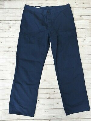 Men's Vintage Workwear Utility Trousers Work Pants - Navy Blue - W34 L30