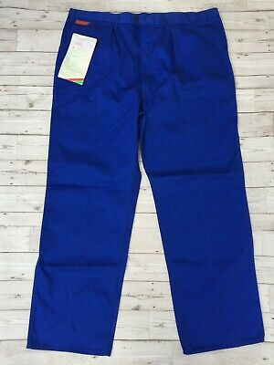 Men's Deadstock New Vintage Workwear Utility Trousers Work Pants Blue - W42 L32