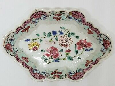 EXQUISITE ANTIQUE CHINESE PORCELAIN 18th CENTURY YUNG CHENG FAMILLE ROSE DISH