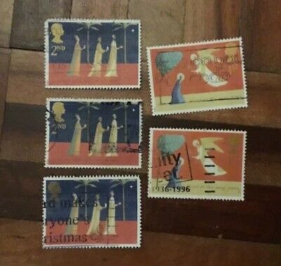 5-Used-1996-Christmas postage stamps-decoupage-paper mache