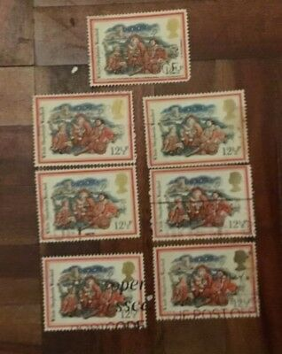 7-used-1982-Christmas postage stamps-decoupage-paper mache