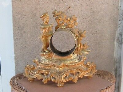 ANTIQUE FRENCH GILDED SPELTER FIGURAL MANTEL CLOCK CASE ONLY-19th c.