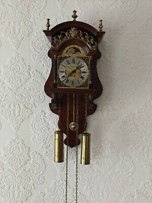 Antique Vintage Beautiful Dutch Warmink Wall 8 Day Clock Fantastic