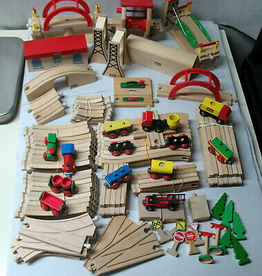 Brio Wooden Train Set Lots Pf Trains Tracks And Accessories Euc