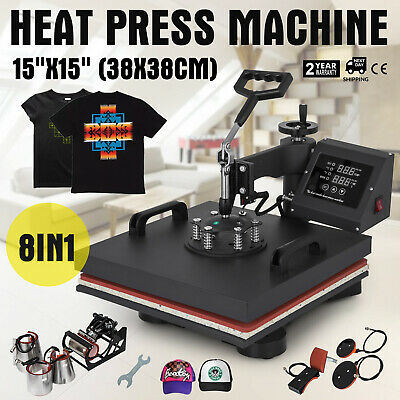 """15""""x15"""" 8IN1 Combo T-Shirt Heat Press Machine Sublimation Clamshell DIY Printer"""