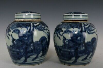2019March Chinese Pair Blue and White Porcelain Kylin Immortal Tea Caddies