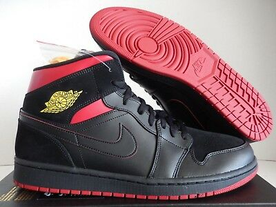 timeless design 1cf97 d3431 Nike Air Jordan 1 Mid Black-Tour Yellow-Gym Red Sz 14  554724