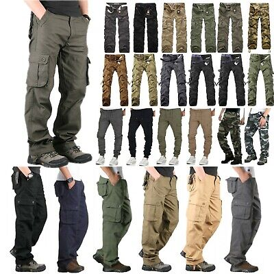 Men's Military Army Combat Trousers Tactical Cotton Work Camo Cargo Long Pants