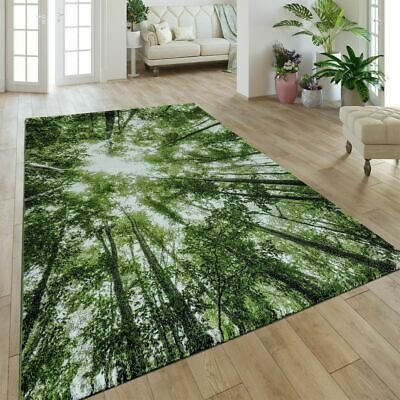 LIVING ROOM RUG Nature Print Forest Pattern Carpet Bright ...