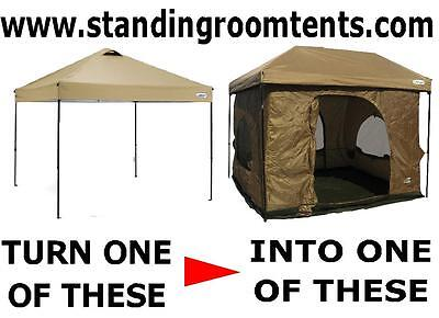 """Turn """"YOUR POP=UP CANOPY""""  into a 100Sq.ft STANDING ROOM TENT""""Tan color"""""""