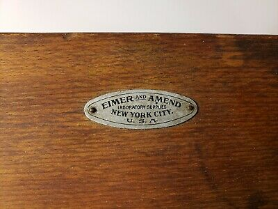 Eimer and Amend Antique Oak Box Of Scale Weights
