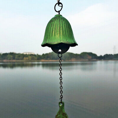 Japanese Vintage Green Temple Wind Bell Small Cast Iron Bell Wind Chime Decor Z