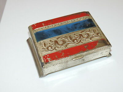 Hallmarked Vintage Cigarette Hinged Box Case Silver Red Blue Enamel Repousse