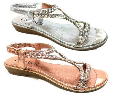 Womens Ladies Flat Low Wedge Heel T-Bar Diamante Slingback Sandals Shoes Size3-8
