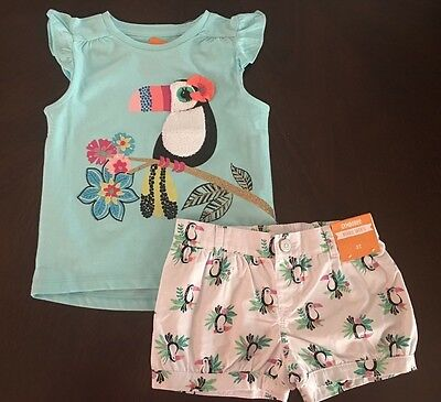 NWT Gymboree Jungle Brights Toucan Tee Floral Shorts Outfit 2T Toddler Girl