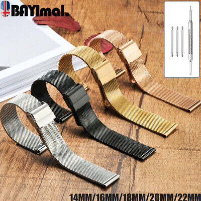 Metal Watch Strap Band Fashion Stainless Steel Thin Mesh Belt 18 20 22mm Silver