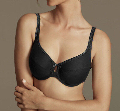 New Ex M&S Full Cup Bra 42F Black Cotton rich Underwired Non Padded BIG CUP Bra